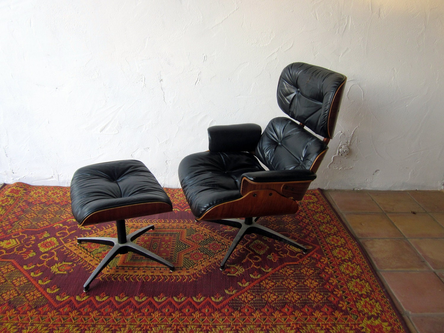 Vintage Eames Era Chair And Ottoman 1975 Molded Plywood