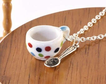 Polka Dot Teacup and Spoon Necklace - Tea Gift, Teacup Jewellery