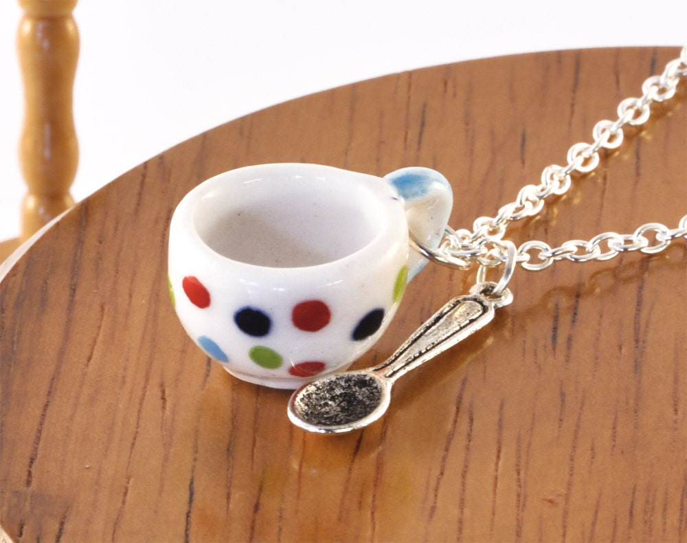 Polka Dot Teacup and Spoon Necklace - Tea Gift - Teacup Jewellery