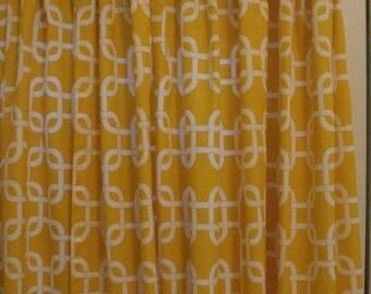 SALE Two Curtain Panels 50 x 84 Premier Prints Yellow Gotcha