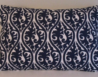 NEW 12 x 18 Lumbar Pillow Cover Kimono Navy