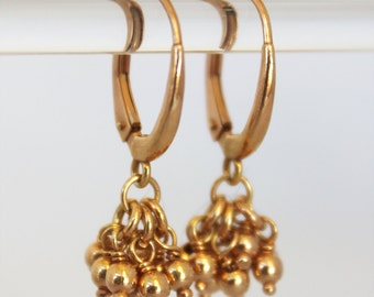 delicate rose gold drop earrings. tiny ball clusters. 18k pink gold vermeil • • teresa drop earring