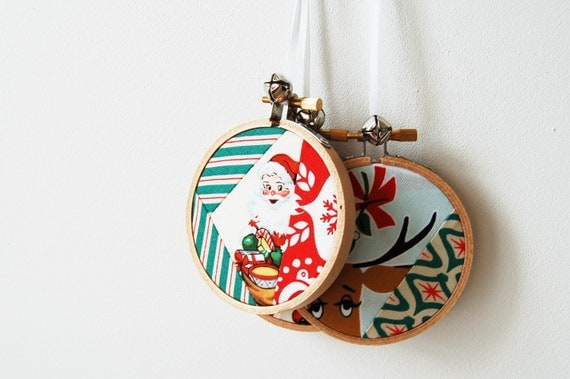 Christmas Ornaments in Embroidery Hoop with Patchwork Fabrics with Jingle Bells. Set of 3. One of A Kind by Merriweather Council