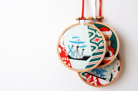 Embroidery Hoop Christmas Tree Decorations Ornaments.