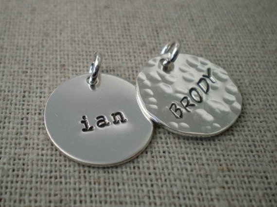 "personalized name disc | custom stamped name tag | 5/8"" round sterling silver disc 