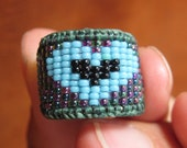 Pachamama In Love  Blue Purple and Black Beaded Heart Ring Knuckle Ring