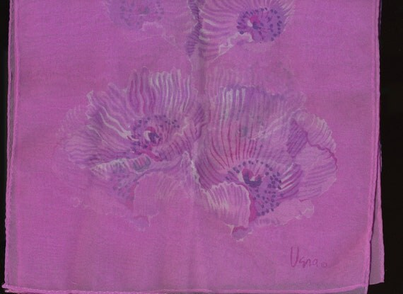 Vintage Vera Scarf Orchid color Poppies jellyfish