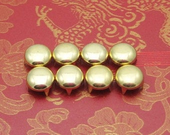 DIY Round Stud--100 pcs 9mm Steampunk Gold Round Flat studs buttons(4 legs)