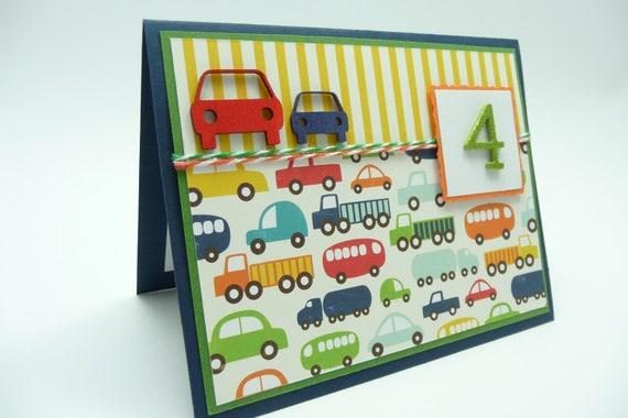 Boys 4th Birthday Card Boys Fourth Birthday Car and – Birthday Cards for Little Boys