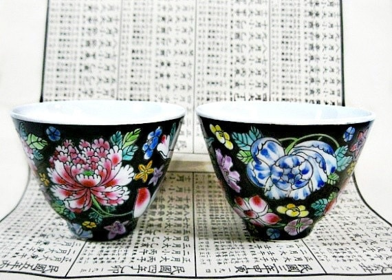 China Tea Bowls Chrysanthemum Lotus Black White Teacup