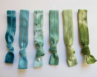 My Tyes Jade Mountain Package, 6 Original Tie Dye Hair Ties that Double as Bracelets