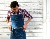 Rustic Full Utility Denim Kitchen Workshop Studio Apron for Him or Her Denim Apron No. 1 - meyertextileco