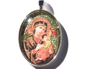 Our Lady of Perpetual Help glass pendant for Easter or Confirmation