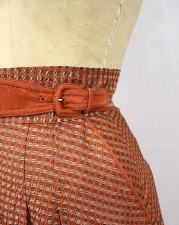 vintage Midi skirt / 1980s max mara skirt / apricot & pewter plaid