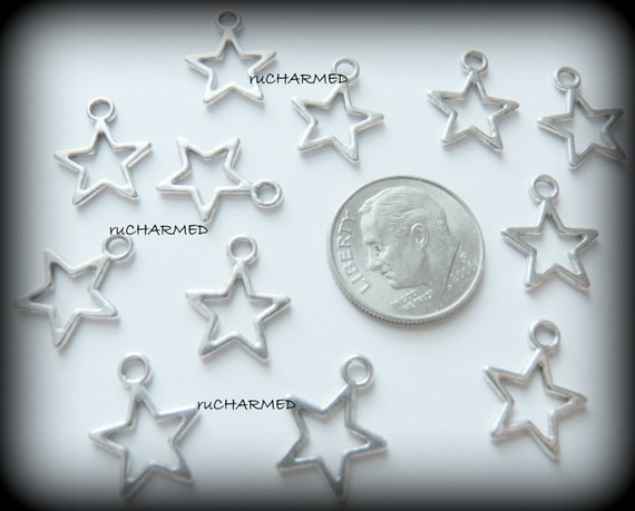 "24pc Silver .5"" Open STAR Charms - Jewelry and Card Making"