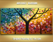 Original large surreal landscape painting multi colors  whimsical Cherry Blossom Gallery canvas fine art by Tim Lam 48x24