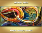 Abstract painting original large impasto texture Colored Brushwork Art, acrylic painting on canvas by tim lam 48x24