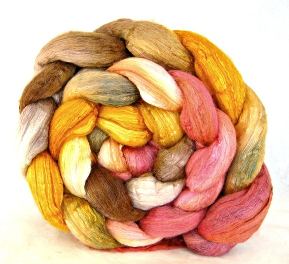 wool roving, merino silk 50 / 50 , combed top: spinning fiber, hand painted roving