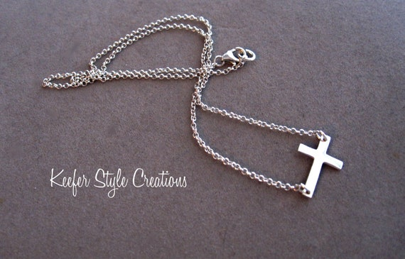 Sterling silver sideways cross necklace