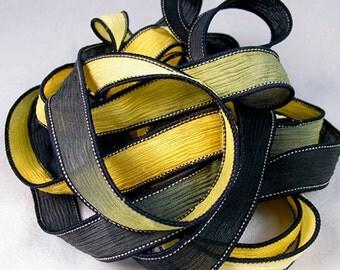 Hand Dyed Silk Ribbon - Crinkle Silk Ribbons - Silk Jewlery Ribbon Bracelet wrisp wrap - Quintessence - Black and Gold