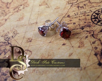Sterling RED CZ Studs
