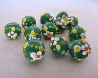 Bumpy Lampwork Glass Beads Green with White, Orange and Yellow, Flowers and Polka Dots, Round, Approx 12mm, 12 Pieces