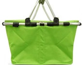 Insulated Lime Green Collapsible Market Tote Personalized Free Great for the Beach, Pool Parties, Wedding gifts, Great for Tennis
