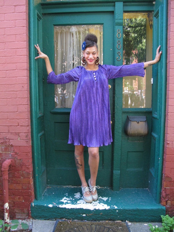 Dress 1960s Vintage 60s Metallic Purple GO-GO Mod M L Xl