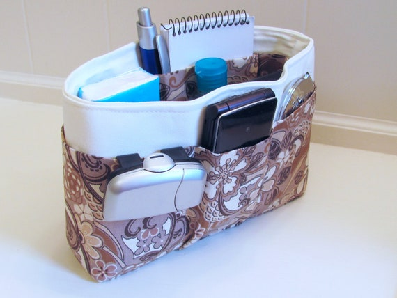 Small Beige Floral and Cream Purse Insert Organizer with  solid bottom