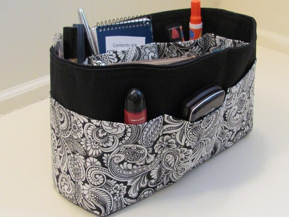 Medium Black and White Paisley Purse Insert Organizer with Roomy Pockets and solid bottom