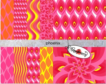 Phoenix : Digital Scrapbook Paper Pack (300 dpi) 10 digital papers Abstract Bird ACEO Collage Art Mixed Media