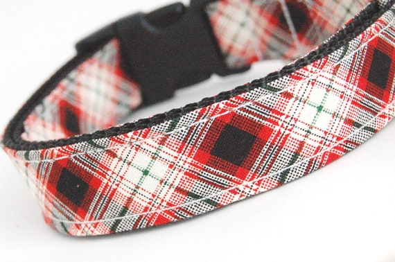 Custom Plaid Dog Collar - The Holiday Plaid - Red Black Plaid Dog Collar