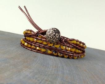 Leather wrap stack bracelet mustard yellow opal Czech triple wrap