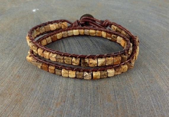 Leather wrap double wrap desert sand jasper earthy stack bracelet