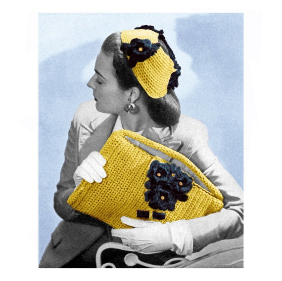 Items similar to Vintage Crochet Pattern Clutch Purse Flower Hat 1940s ...