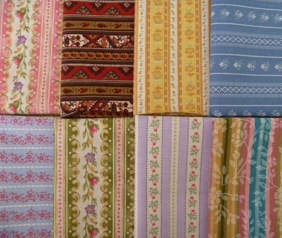8 Assorted Vintage and Newer Striped Calico Cotton Fabric Remnants..Fat Eighths..Fabric Scraps
