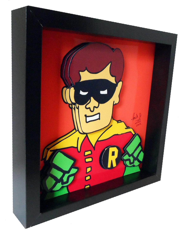 batman and robin comic art comic book art 3d pop art print. Black Bedroom Furniture Sets. Home Design Ideas