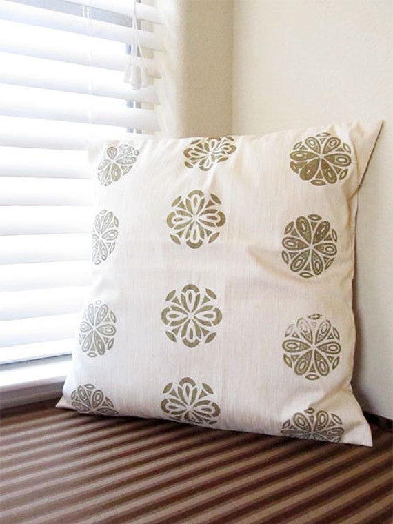 Ivory with Bronze Pattern Pillow Cover - 20in X 20in  Throw Pillow / Cushion Cover