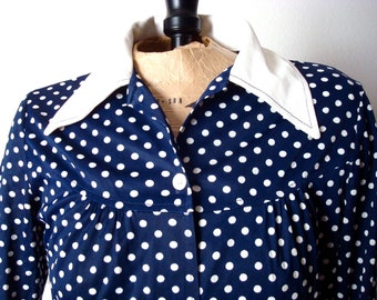 Vintage Navy & White Polka Dot Dress