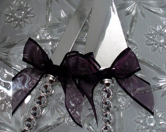 Engraveable Crystal Wedding Cake Server Set Crystal Cake Cutter Set Eggplant/Aubergine/Plum Elegant Wedding Cake Cutting Set Custom Colors