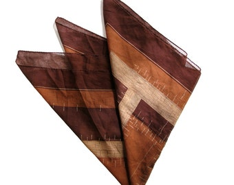 Brown Tiki Foulard Scarf -  Chestnut tan and taupe - 1970