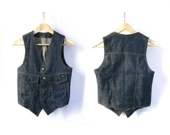 SALE - Vintage Male Denim Vest - 1970 - Brand Rifle