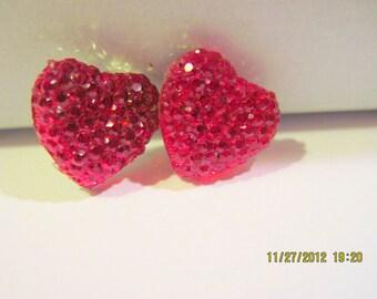 Ruby Red Heart Post Earrings