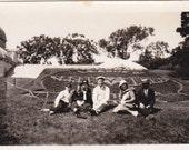 Group in Front of Garden - Vintage Photograph, Vernacular, Ephemera (NN)