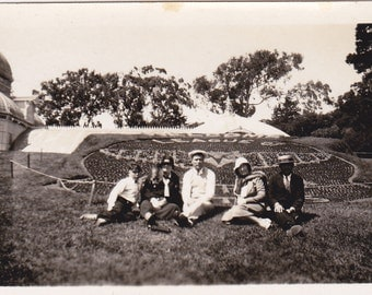 Group in Front of Garden - Vintage Photograph, Vernacular, Ephemera (NN)