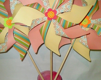 Paper Pinwheels or Large Outdoor Garden Yard Pinwheels Set of 4 for staging and photo props or photo shoots or a wedding or birthday party