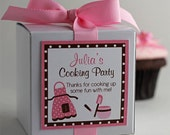 Cooking Party in Pink and Brown...One Dozen Personalized Cupcake Mix Party Favors