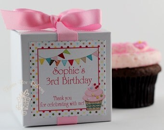 CUPCAKE PARTY...One Dozen Personalized Cupcake Mix Party Favors