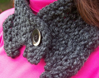 Hand Knit Cowl in Charcoal