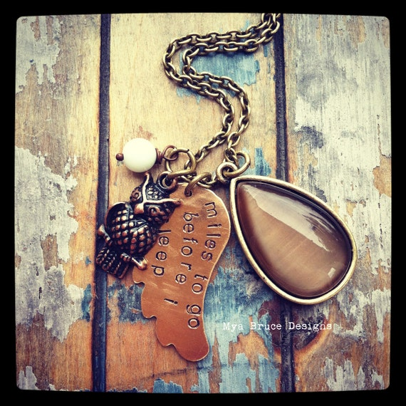 miles to go before I sleep - hand-stamped angel wing - antiqued gold with large upcycled drop, owl & amazonite bead
